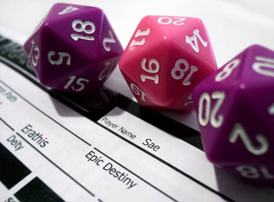 Tabletop RPG Adventure Writing Dice and Paper